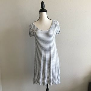 Cute Altar'd State White and Grey Striped Dress